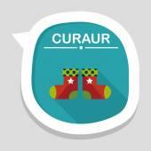 Weihnachtsstrumpf flache icon mit langen schatten, eps10 — Stockvektor