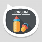 Baby bottle flat icon with long shadow,EPS 10 — Stock Vector