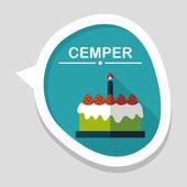Doğum günü pastası düz simgesi ile uzun gölge, eps10 — Stok Vektör