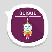 Birthday teddy bear flat icon with long shadow,eps10 — Stock Vector