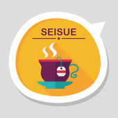 Hot tea flat icon with long shadow,eps10 — Stockvektor
