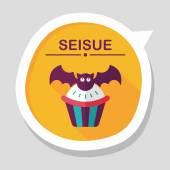 Cupcakes halloween ikoną płaskie nietoperz z długim cieniem, eps10 — Wektor stockowy