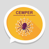 Halloween Spider flat icon with long shadow,eps10 — Stock Vector