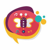 Butterfly music toy flat icon with long shadow,eps10 — Stock Vector