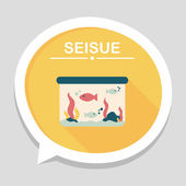 Pet fish flat icon with long shadow,eps10 — Stock Vector