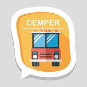 Автобусный символ квартиры транспортировки с длинной тенью, eps10 — Cтоковый вектор