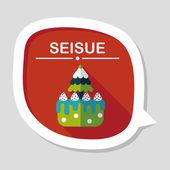 Weihnachtskuchen flache icon mit langen schatten, eps10 — Stockvektor