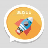 Space rocket flat icon with long shadow,eps10 — Stockvektor