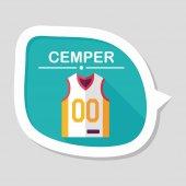 Koszykówki odzież płaskie ikona z długim cieniem, eps10 — Vettoriale Stock