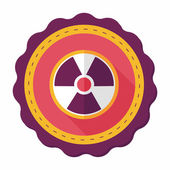 Radiation flat icon with long shadow — Stock Vector