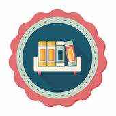 Bookshelf flat icon with long shadow,eps10 — Stock Vector