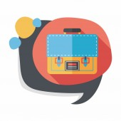 Briefcase school bag flat icon with long shadow,eps10 — Stock Vector