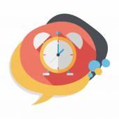 Sveglia orologio icona piatto con lunga ombra, eps10 — Vettoriale Stock