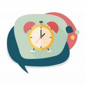 Alarm clock flat icon with long shadow,eps10 — Stockvektor