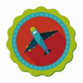 Airplane flat icon with long shadow — Stock Vector