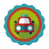 Taxi flat icon with long shadow — Stock Vector