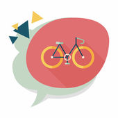 Bicycle flat icon with long shadow — Stock Vector