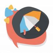 Paraplu platte pictogram met lange schaduw — Stockvector