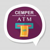 Atm flat icon with long shadow — Stock Vector