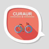 Uzun gölge ile bisiklet düz simgesi — Stok Vektör
