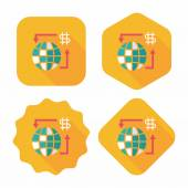 Currency Exchange flat icon with long shadow,eps10 — ストックベクタ