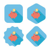 Piggy bank flat icon with long shadow,eps10 — Stockvektor