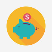 Piggy bank flat icon with long shadow,eps10 — Stock Vector