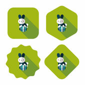 Easter bunny flat icon with long shadow,eps10 — Stockvektor