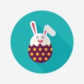 Easter bunny flat icon with long shadow,eps10 — Vector de stock
