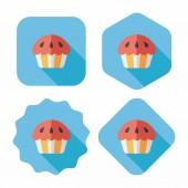 Cupcake flat icon with long shadow,eps10 — Stock Vector