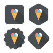 Eis flach icon mit langen schatten, eps10 — Stockvektor
