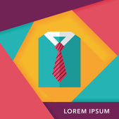 Business shirt and tie flat icon with long shadow,eps10 — Stock Vector