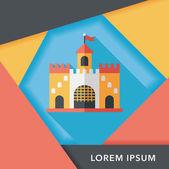 Bau Schloss flach Icon mit langen Schatten, eps10 — Stockvektor