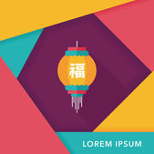 Chinese New Year flat icon with long shadow,eps10, Chinese festi — Wektor stockowy