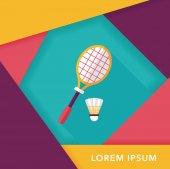 Badminton racchetta e palla piatta icona con lunga ombra, eps10 — Vettoriale Stock