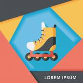 Roller skates flat icon with long shadow,eps10 — Stock Vector
