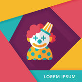 Clown flat icon with long shadow,eps10 — Stock Vector