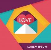 Valentinstag Liebe Letter flach-Symbol mit langen Schatten, eps10 — Stockvektor