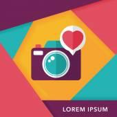 Flache Valentinstag Foto Kamera-Icon mit langen Schatten, eps10 — Stockvektor