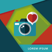 Valentine's Day photo camera flat icon with long shadow,eps10 — Stok Vektör