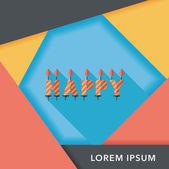 Verjaardag kaarsen platte pictogram met lange schaduw, eps10 — Stockvector