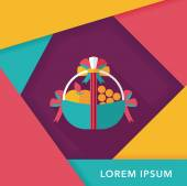 Fruit gift baskets flat icon with long shadow,eps10 — Stockvektor