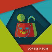 Ícone plana de Halloween sacola de compras com sombra longa, eps10 — Vetor de Stock