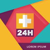 Krankenhäuser 24 Stunden flach Icon mit langen Schatten — Stockvektor