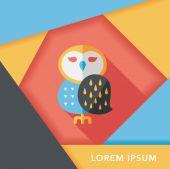 Halloween owl flat icon with long shadow,eps10 — Stock Vector