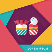 Halloween cupcakes met vleermuis platte pictogram met lange schaduw, eps10 — Stockvector
