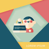 SALE Shopaholic flat icon with long shadow,eps10 — Stockvector