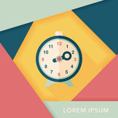 目覚まし時計の長い影、eps10 とフラット アイコン — ストックベクタ