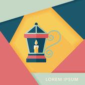 Kerst lantaarn platte pictogram met lange schaduw, eps10 — Stockvector