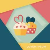 Valentine's Day cupcake flat icon with long shadow,eps10 — Wektor stockowy